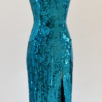 Vintage Sequin Dress Evening Gown in Aqua Blue// 80s Pageant Metallic Dress With Cage Neckline Size Medium By Nadine