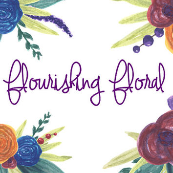 Flourishing Floral Watercolor Clip Arts for Scrapbooking Digital Files Wedding Invitation