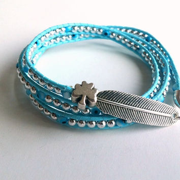 Wrap Leather Bracelet, Beaded Bracelet, Blue Leather Bracelet, Boho, Silver, Jewelry, Gift İdea, Autumn, Silver Clover Jewelry, Silver Leaf