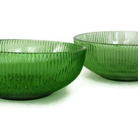 Vintage E. O. Brody Ribbed Emerald Green Glass Bowl Set of 2