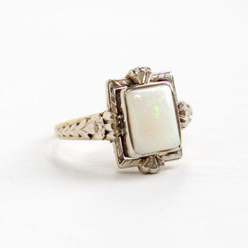 Antique 14k Yellow & White Gold Opal Ring- 1920s Art Deco Size 7 1/4 White Opal Fine Gemstone Jewelry with Flower Shoulder Accents