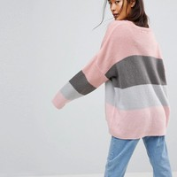 ASOS Chunky Jumper In Block Stripe at asos.com