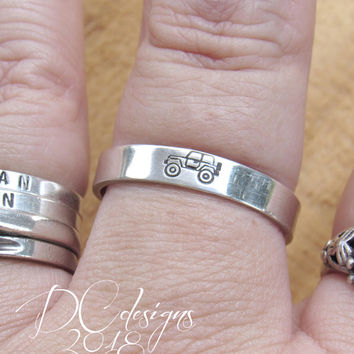 Jeep, Sterling Silver Ring, Engraved Ring, Custom Ring, Personalized Ring, Personalised Gift, Gifts for Her, Boyfriend Gift, Gifts for Him