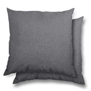 stratford home 17x17 Indoor/ Outdoor Toss Pillows, Sunbrella Canvas Fabric, Set of 2 (Charcoal)