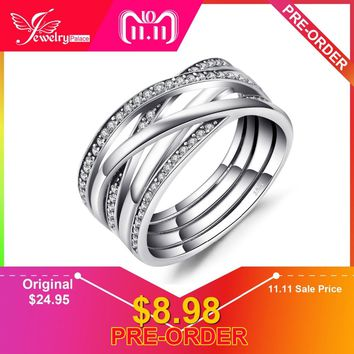 Jewelrypalace 925 Sterling Silver Rings Cosmic Lines Statement Ring Wedding Band Infinity Love Fine Jewelry Anniversary Gfits