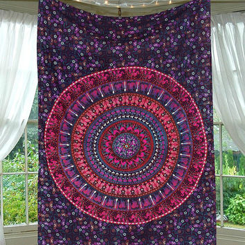Sashia Mandala Bohemian Boho Purple Mix Wall Beach Bed Tapestry