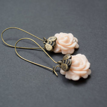 Rose Earrings. Flower and Honey Bee Earrings. Peach Rose and Gold Bee Earrings. Antique Brass. Long Dangle Earrings. Flower Jewelry