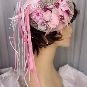 The Kym - Pink White Raspberry Feather Flower Ribbon Sinamay Fascinator Hat