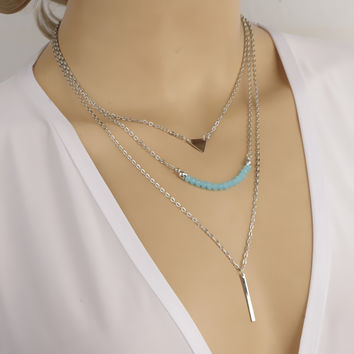 2016 woman Casual Fashion Metal Chain Necklaces Bar Circle Lariat Triangle Punk Sexy Necklace woman fashion jewelry