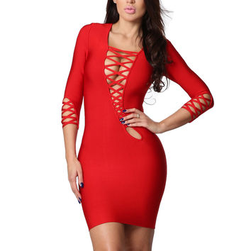 Gia Red Asymmetric Cut Out Lace Up Long Sleeve Bandage Dress
