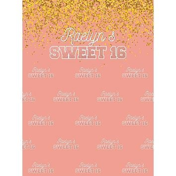 Sweet 16 Rose Gold Sparkles Party Theme Backdrop (Any Color) Background - C0250