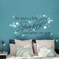 She leaves a little sparkle everywhere she goes - Girls Bedroom Decor, Fairy Quote, Little Girls Room, Daughter Gift, Home Decor Items
