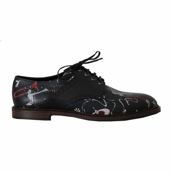 Dolce & Gabbana Black Print Leather Wingtip Oxford Shoes