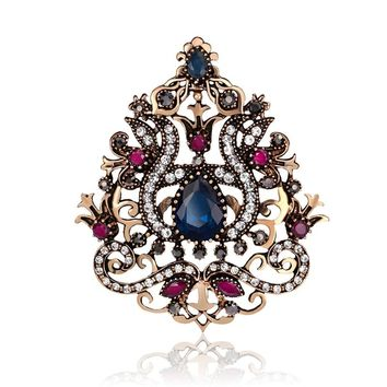 Big Flower Women Gothic Brooches Crown Design Vintage Brooch Pins Collar Resin Gold Color Turkish Indian Jewelry 6.3cm