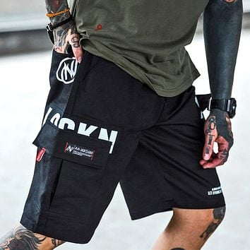 Mens Streetwear Cargo Shorts Hip Hop Streetstyle Camouflage Knee Length Short
