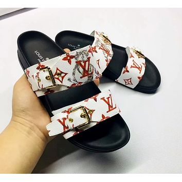LV 2019 new female models wild fashion outdoor flat flat sandals slippers white