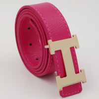 HERMES men and women models casual fashion belt Rose red