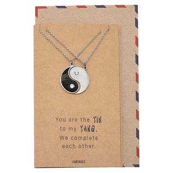 Caylee Yin Yang Pendant Necklace Relationship Goals Gifts for Women with Greeting Card