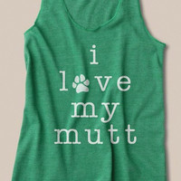 I Love My Mutt Eco Racerback Tank Top