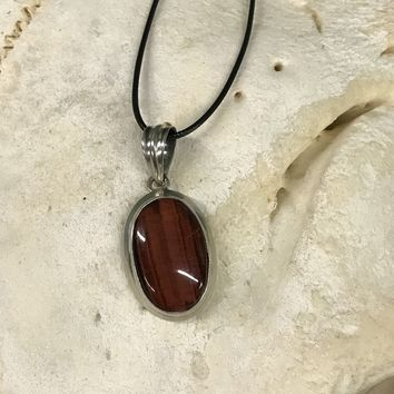 Red Tiger Eye Cabochon Necklace