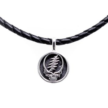 Steal Your Face Sterling Silver Charm Leather Necklace | Ship Date: Starting August 15
