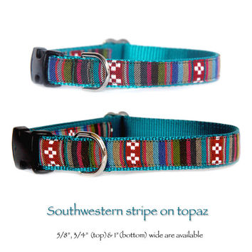 Southwestern tribal stripe dog collar Nabajo, Mexican, Native American,inspired pet collar. Matching dog leash dog harness are available