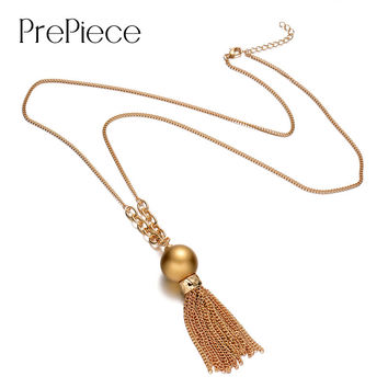 PrePiece Women gold plated tassel simulated pearl pendant exquisite long necklace simple jewelry accessories bijoux gift PN0048