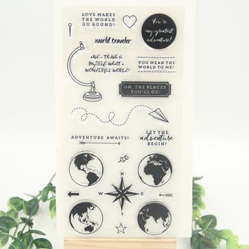 1 sheet World Traveler Transparent Clear Silicone Stamp for DIY Scrapbooking/Card Making Decoration Supplies