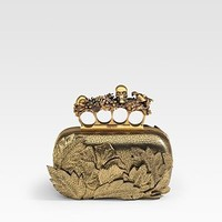 Alexander McQueen - Four Finger Flower Leather Clutch - Saks.com