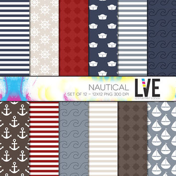 Nautical 12x12 Scrapbooking Digital Paper Packs, Backgrounds, Pages, Patterns Commercial or Personal Usage - Instant Download