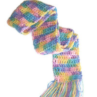 Pastel Rainbow Scarf - with fringe