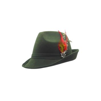 Germanic Hunter Green Hat Fedora And Edelweiss & Feather