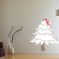Christmas Tree with Ornaments Wall Decal - Vinyl Fabric - Vinyl Sticker - Chirstams Decoration -  CD63