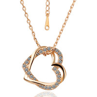 Dual love diamond pendants necklace