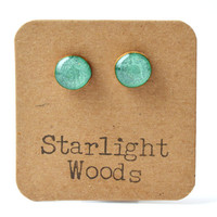 Emerald metallic studs post earrings wood earrings minimalist jewelry eco fashion eco friendly unique gift for her
