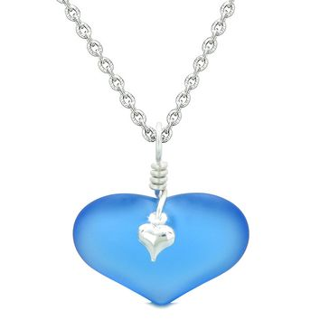 Unique Puffy Heart Frosted Sea Glass Cloud Blue Life and Positive Powers Amulet 18 Inch Necklace