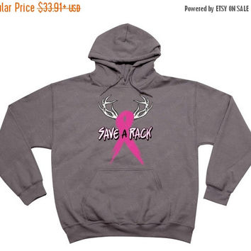 Save a Rack Breast Cancer Awareness deer pink ribbon survivor HOODIE - Sweatshirt