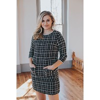 Tweed Dress, Black/White