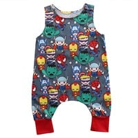 2017 Baby Rompers Newborn Baby Boy Girl Clothes Novelty Cartoon Summer Romper Sleeveless O-Neck Jumpsuit Unisex Romper Outfits
