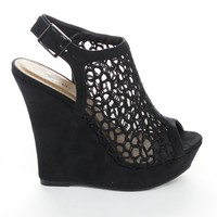 Styluxe Twin-38 Womens High Platform Fabric Nets Cut Outs Wedge