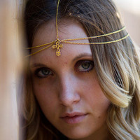 Gold Cross Head Chain, Headdress, Head Piece, Hair Chain, Hair Jewelry