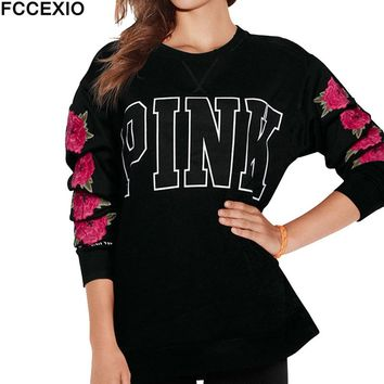 FCCEXIO Women Pink  Love T Shirt Autumn Casual T-Shirt Tops Flower Leaves Letter Print Round Neck Rose Long Sleeve T-Shirt