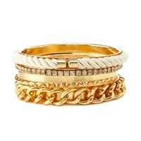 Rope & Chain Bangles - 5 Pack by Charlotte Russe - Gold
