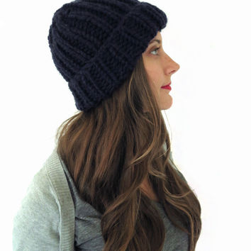 Chunky Soft Knit Ribbed Beanie Hat // Fisherman's Watch Cap in Midnight Ride // Many Colors and Vegan Options Available