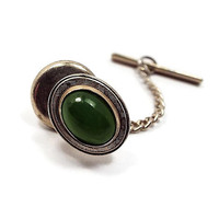 Jade Tie Tack, Gemstone Tie Tack, Gold Tone Oval, Retro 1980s 80s, Mens Formal, Mossy Green Spring Summer, Mens Jewelry