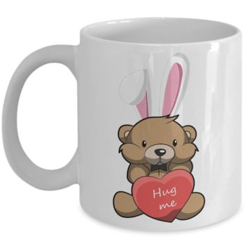 Fun Kid Easter Bunny Ears Grimm Story Mug Cup For Children White Bpa Free Chocolate Cookies Jar Coloring Marker Holder Drink Mugs For Cocoa Milk Juice Best Affordable Holiday Gift For Kids 2017 2018 Fun Easter Egg Jar For Children Teddy Bear Hug Me Easter