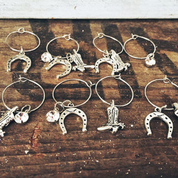 Set of 8 Country Wine Charms Charms include: Cowboy Boot, Horse Shoe and Jewel