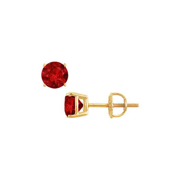 14K Yellow Gold Prong Set Created Ruby Stud Earrings 1.00 CT TGW