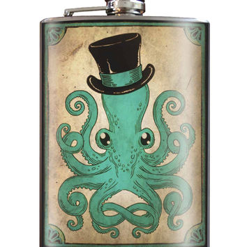 Trixie and Milo Gentleman Octopus 8 oz. Stainless Steel Flask