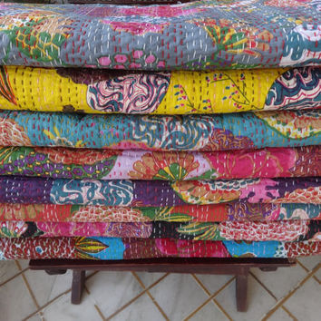 Set of 5 Queen Size Tropical Kantha Quilt, Wholesale Fruit Print Kantha Bedspread, Reversible Kantha Bedding, Hand Kantha Work Bedcover